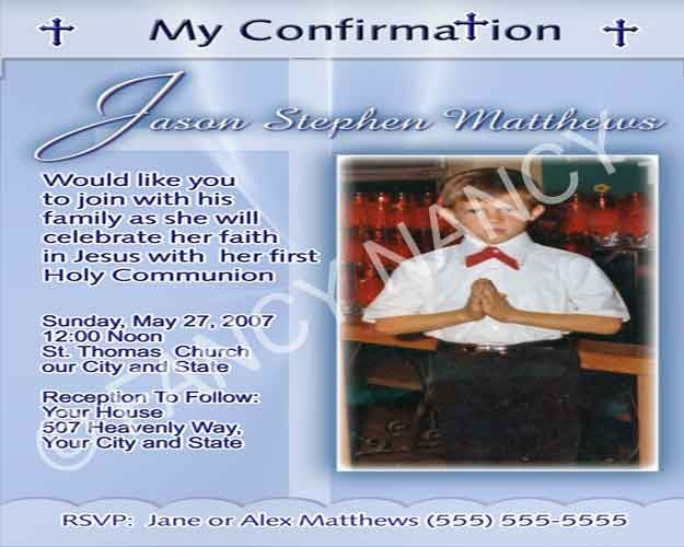 1st First Holy Communion Confirmation Custom Photo Personalized Invitation Card