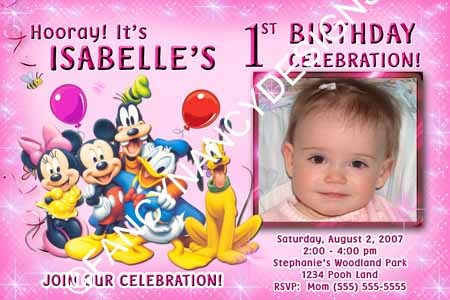 Mickey Minnie Mouse Clubhouse Boy Girl Park Photo Birthday Party Invitations