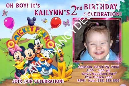 Mickey Minnie Mouse Clubhouse Gang Girly Custom Photo Birthday Party Invitations