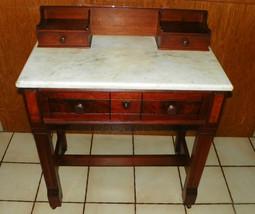 Walnut Eastlake Burl Paneled  Marble Top Writing Desk - $699.00