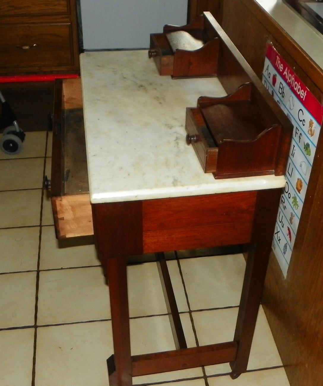 Walnut Eastlake Burl Paneled  Marble Top Writing Desk