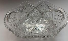 American Brilliant Period hand Cut Glass oval  shape bowl ABP sawtooth e... - $120.27