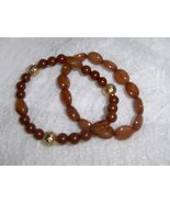 Carnelian and Goldstone Beaded Bracelets Set of 2 Beautiful  - $6.00