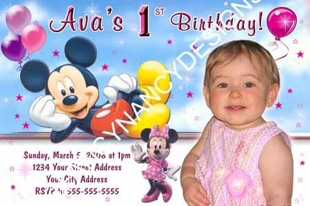 Primary image for Mickey Minnie Mouse Clubhouse Boy Girl Custom Photo Birthday Party Invitations
