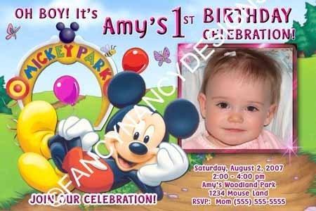 Mickey Minnie Mouse Clubhouse Boy Girl Custom Photo Birthday Party Invitations