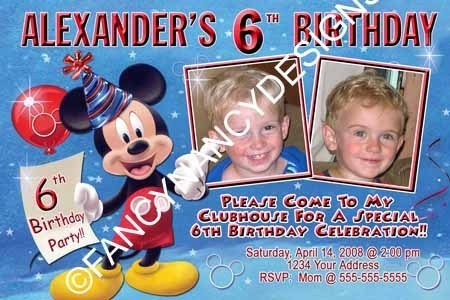 Mickey Minnie Mouse Clubhouse 1st 2nd 3rd 4th 5th 6th Birthday Party Invitations