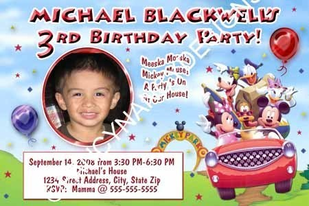 Mickey Minnie Mouse Clubhouse Park Girls Boys Photo Birthday Party Invitations