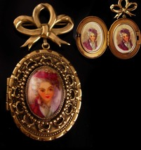 Antique Locket -  BIG heavy photo brooch - victorian pin - sweetheart je... - $175.00