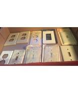 10 Elec Pc, 8 plastic, 2 metal. outlet plates & light switch plates w ne... - $6.97