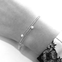 18K WHITE GOLD MAGICWIRE BANGLE BRACELET, ELASTIC WORKED MULTI WIRES, PEARLS image 3