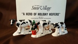 Dept 56 Snow Village Accessory 1993 A HERD OF HOLIDAY HEIFERS 3 Pc 54550... - $19.95