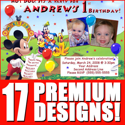 Mickey Minnie Mouse Clubhouse Boy Girl 7th 8th 9th Birthday Party Invitations