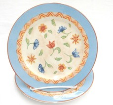 PTS Interiors Sanibel 2 Salad Plates SA-BL-D Blue Coral Bands Flowers in... - $14.84