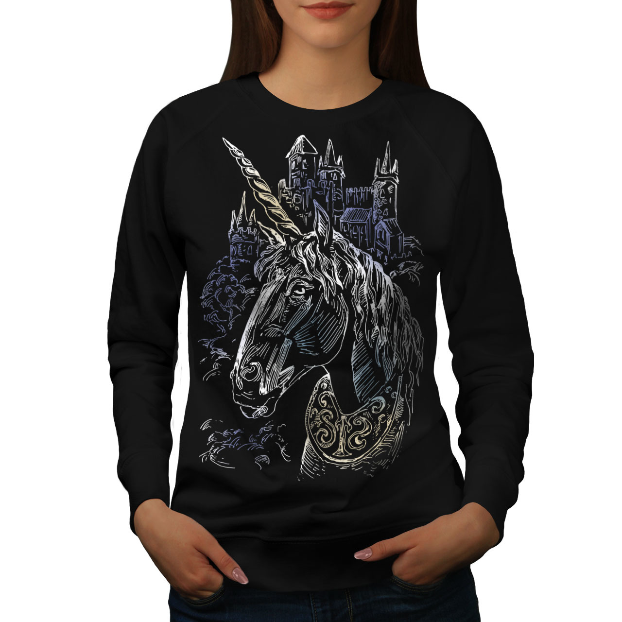 Primary image for Unicorn Unique Fantasy Jumper Medieval Art Women Sweatshirt