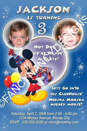 Any Boy Girl Design Mickey Minnie Mouse Clubhouse Birthday Party Invitation
