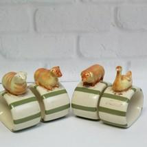 Set 4 Nikko Country Market Farm Animals Cow Sheep Pig Duck Ceramic Napki... - $20.99