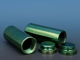 Vintage Novelty Salt & Pepper Shaker Set Machined Aluminum Green Annodized image 3