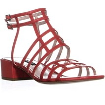 Nine West Xerxes Low-Heel Dress Sandals, Red Leather, 7.5 US - $34.55