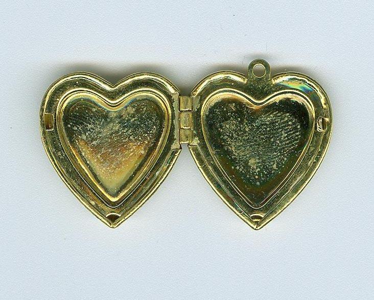 Cloissone Flower Heart Locket Costume Jewelry Contemporary
