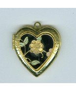 Cloissone Flower Heart Locket Costume Jewelry Contemporary  - $5.99