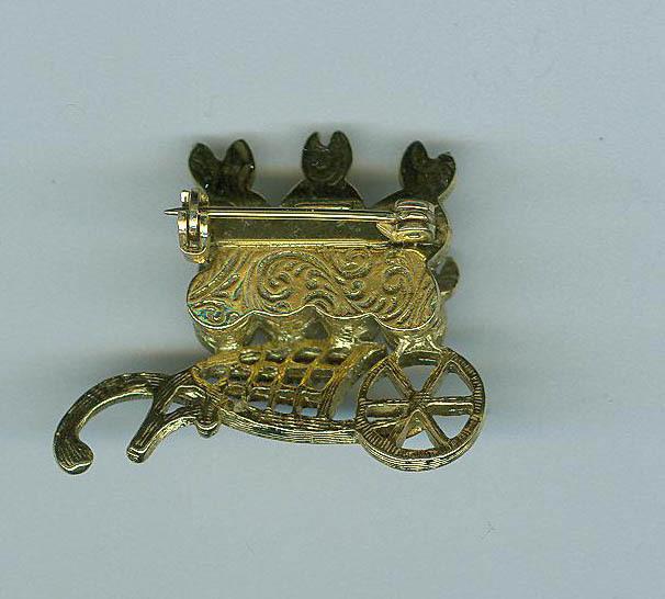 Bunnies  In a Wheelbarrow Pin Brooch Costume Jewelry