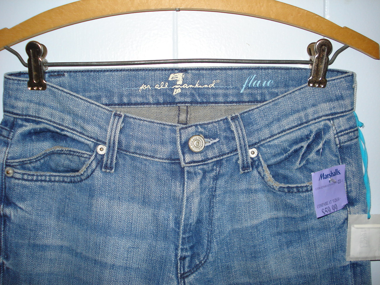 Seven For All Mankind Flare Ladies Jeans Annapolis Wash w/Crystals Size 25