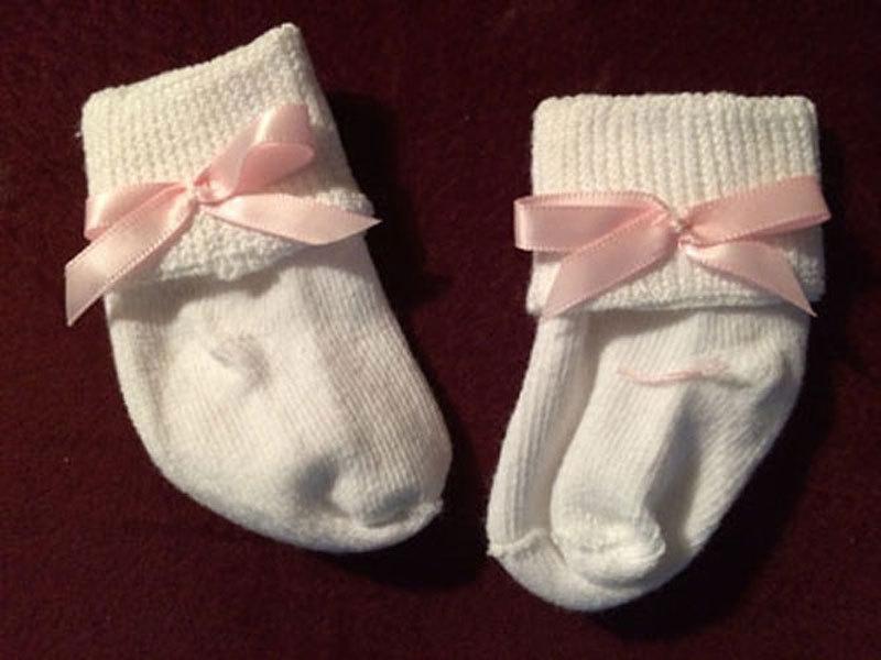 Preemie & Baby Pink Ribbon Bow Socks - $4.00