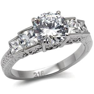 Primary image for   Stainless Steel Engagement, Wedding Ring W/ Clear Round & Princess CZ, Size 10