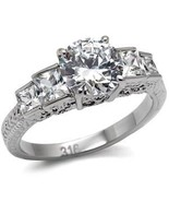 Stainless Steel Engagement, Wedding Ring W/ Clear Round & Princess CZ,... - $24.99