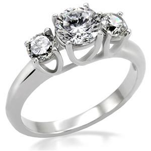 Primary image for 1.25ct Clear Cz 3-Stone Engagement Wedding Ring , Stainless Steel