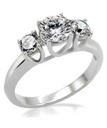1.25ct Clear Cz 3-Stone Engagement Wedding Ring , Stainless Steel   - $22.99