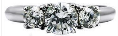 1.25ct Clear Cz 3-Stone Engagement Wedding Ring , Stainless Steel