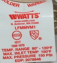 Watts Thermostatic Mixing Valve Threaded 0559122 For Domestic Hot Water Systems image 3