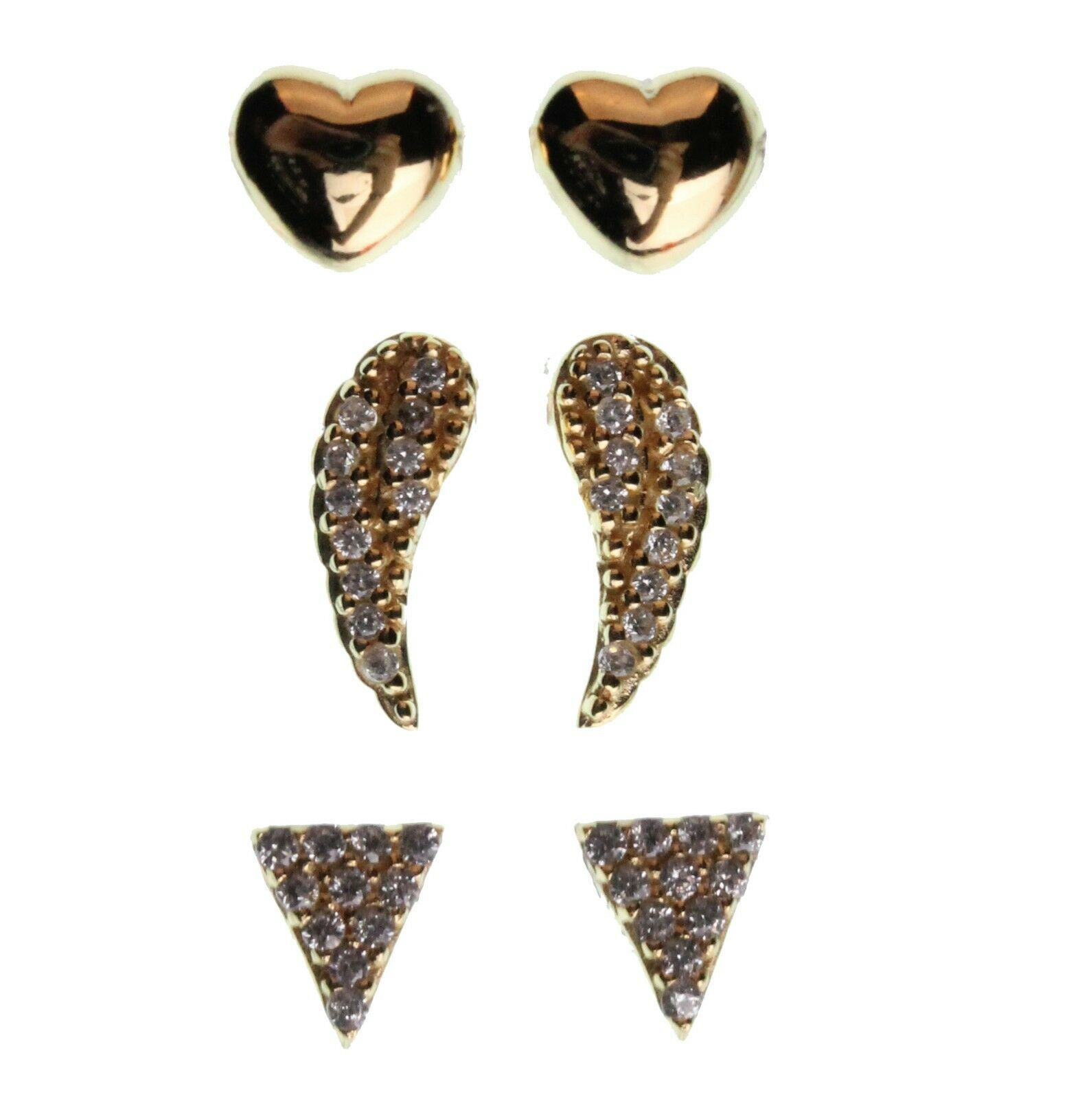 Dolce Vetra Sterling Pave Triangle Angel Wing & Puff Heart Stud Earrings Set