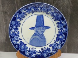 Antiq Royal Doulton Charles Noke Woman Pilgrim Portrait Blue Transferware Plate  - $53.46