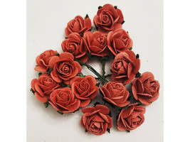 Mulberry Paper Flowers Burnt Orange Roses, 25mm, 15 Count