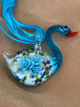 Beautiful Blue Floral Swan Necklace by Murano Glass - $6.99