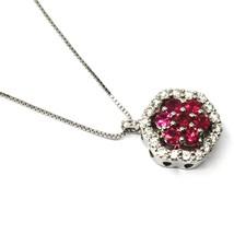 18K WHITE GOLD NECKLACE HEXAGON FLOWER RED RUBY DIAMOND PENDANT VENETIAN CHAIN image 2
