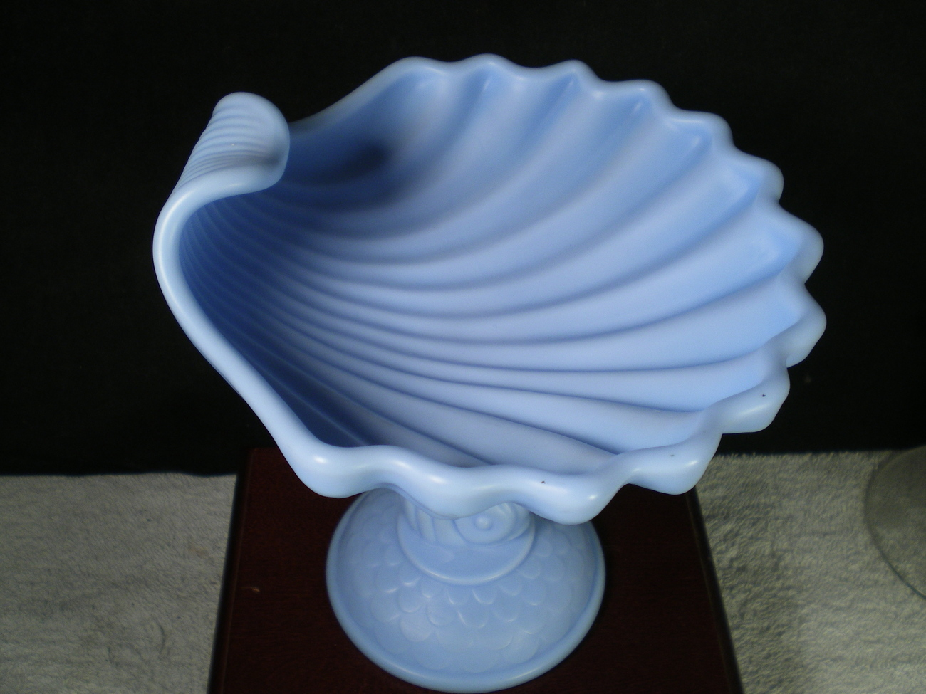 IMPERIAL SATIN POWDER BLUE DOLPHIN FOOTED COMPOTE~~~a must see~~