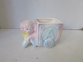 "VINTAGE 1980'S CERAMIC BABY PASTEL PLANTER HOLDER LAMB W/ABC CART  6""W - $7.87"