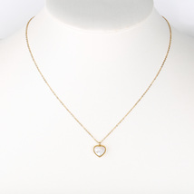 UE- Gold Tone Designer Necklace With White Faux Mother-of-Pearl Heart Pendant - $15.99