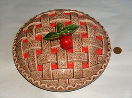 "Vintage Cherry Pie Ceramic 9"" Replacement Lid Only No Dish Free Shipping... - $22.83"