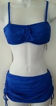 Apt. 9 Swim Bikini 2 Pcs Set Padded Top Bottom Skirt Solid Royal Blue Ju... - $19.99