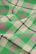 57'' Wide Handworked Emerizing Fabric Cotton Plaid Fabric Green(17.557 Inches)