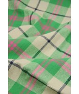 57'' Wide Handworked Emerizing Fabric Cotton Plaid Fabric Green(17.557 I... - $20.09