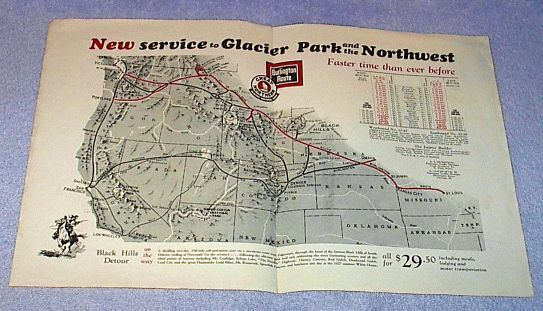 Burlington Route Great Northern Railroad Glacier Park Route Map