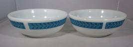 Pyrex 2 Cereal Bowls Restaurant Ware Bluegrass Turquoise Laurel Leaf 5.7... - $11.88