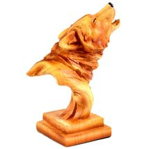"""Faux Wood Pattern Resin American Nature Howling Wolf Bust Small 4"""" Figurine image 4"""