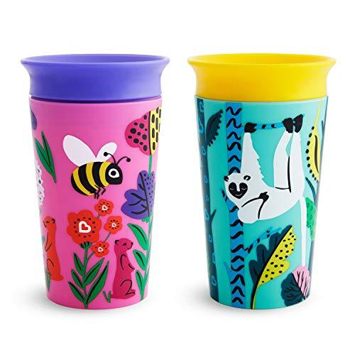 Munchkin Miracle 360 WildLove Sippy Cup, 9 Ounce, 2 Pack, Bee/Lemur