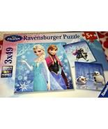 Ravensburger Disney Frozen Set of 3 Puzzles 49 Pieces Anna Elsa Kristoff... - $10.00